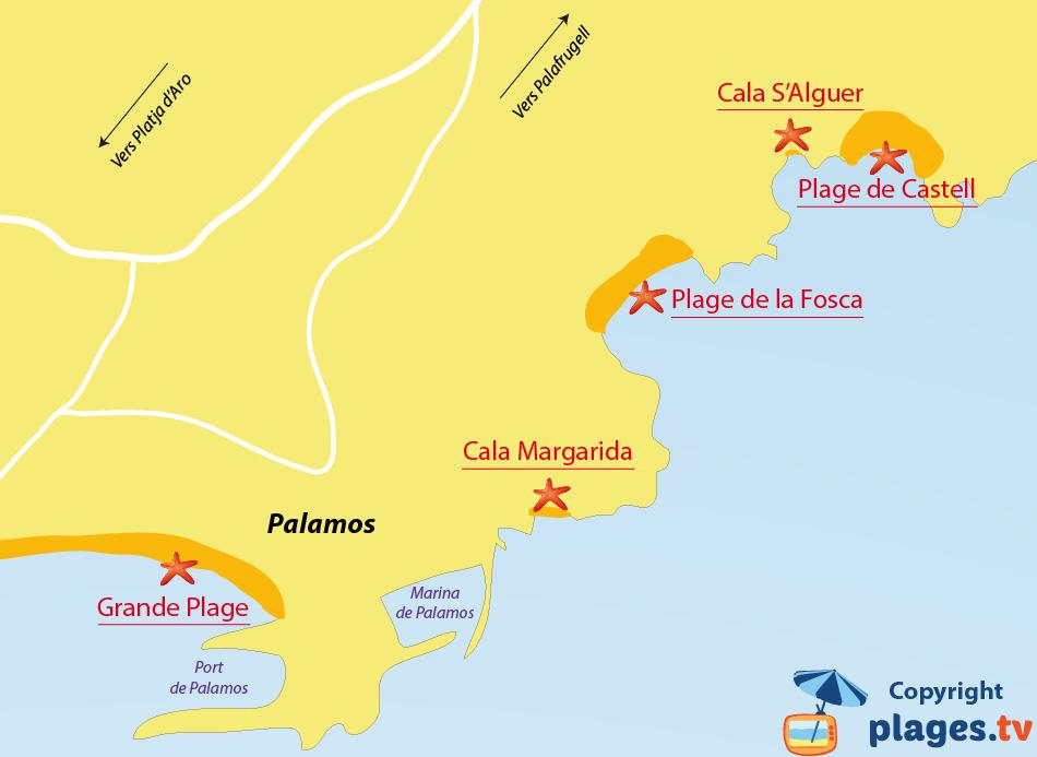 Plan des plages de Palamos en Espagne