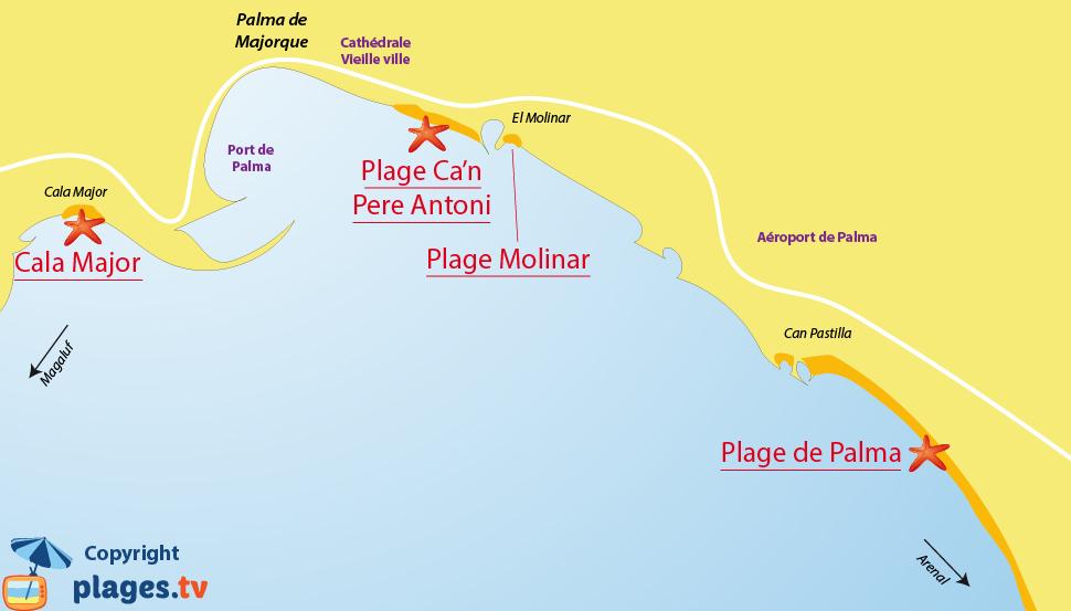 Plan des plages de Palma de Majorque aux Baléares