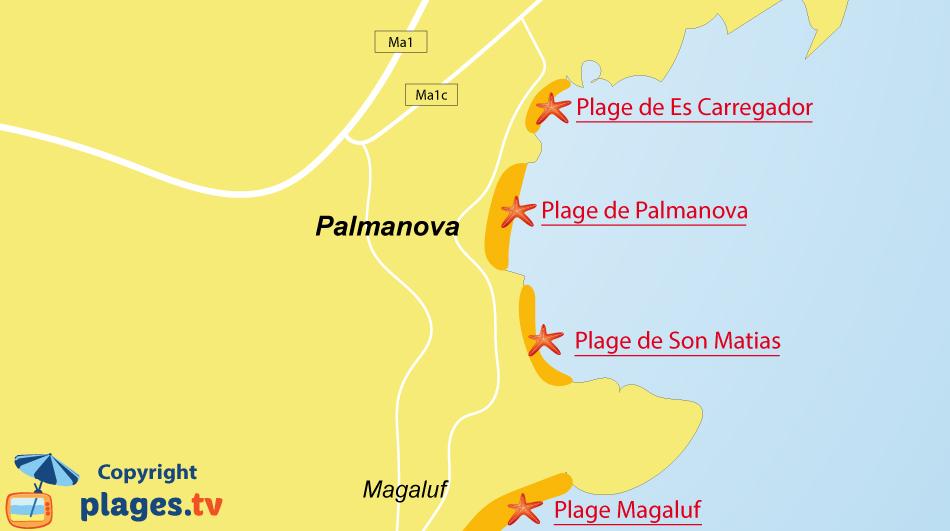 Plan des plages de Palmanova à Majorque