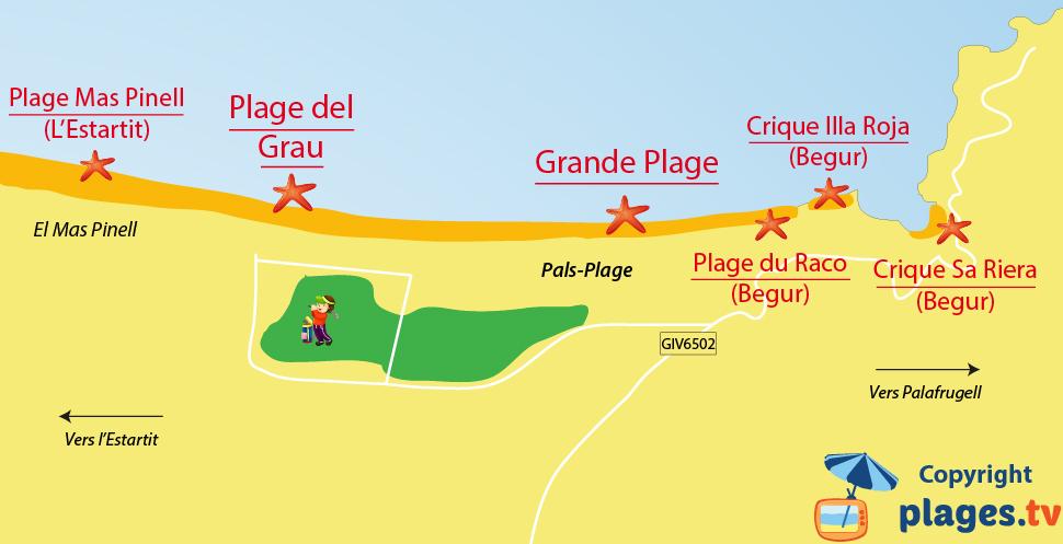 Plan des plages de Pals en Espagne