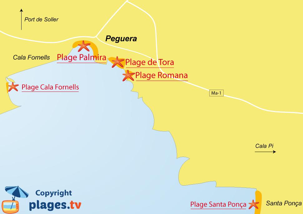 Plan des plages de Peguera sur l'ile de Majorque - Baléares