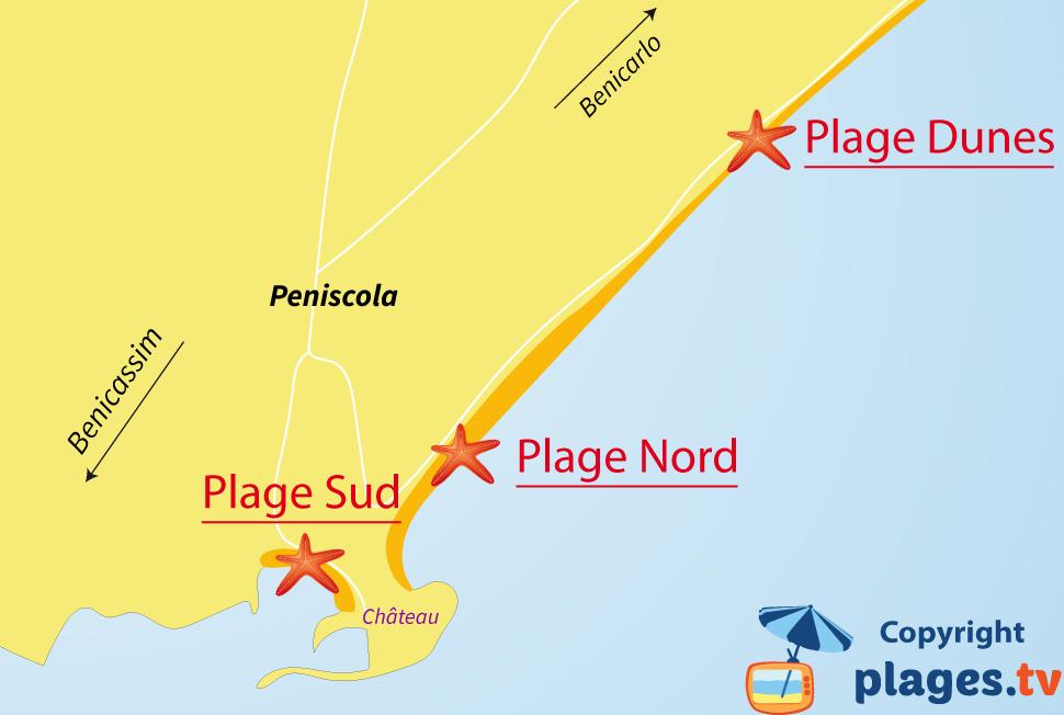 Plan des plages de Peniscola en Espagne