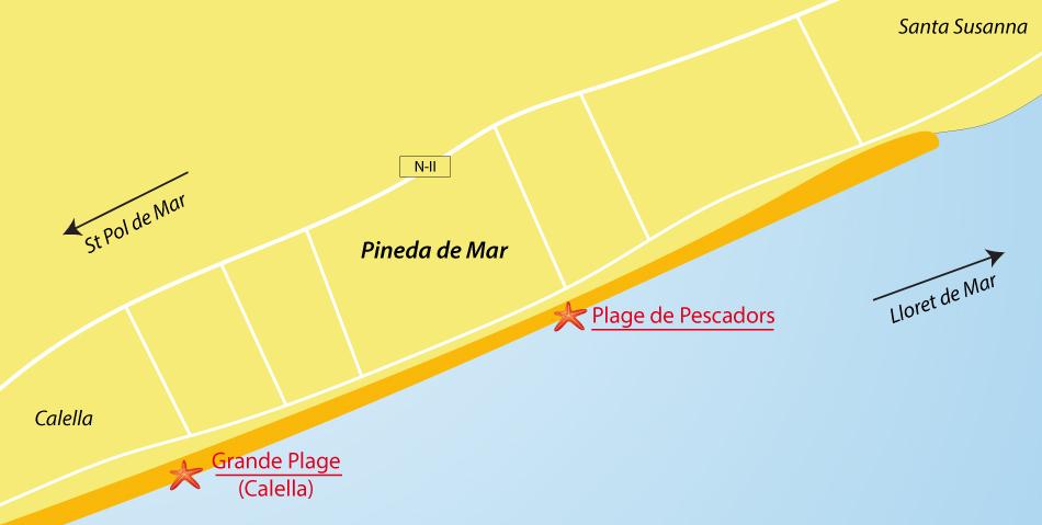 Plan des plages de Pineda de Mar en Espagne