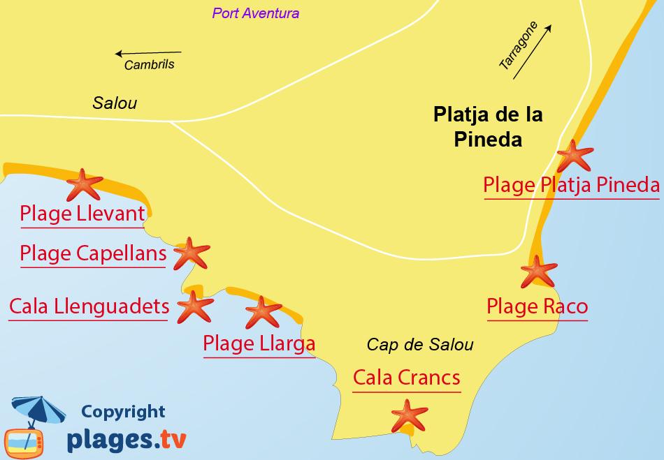 Plan des plages de Pineda à proximité de Salou en Espagne