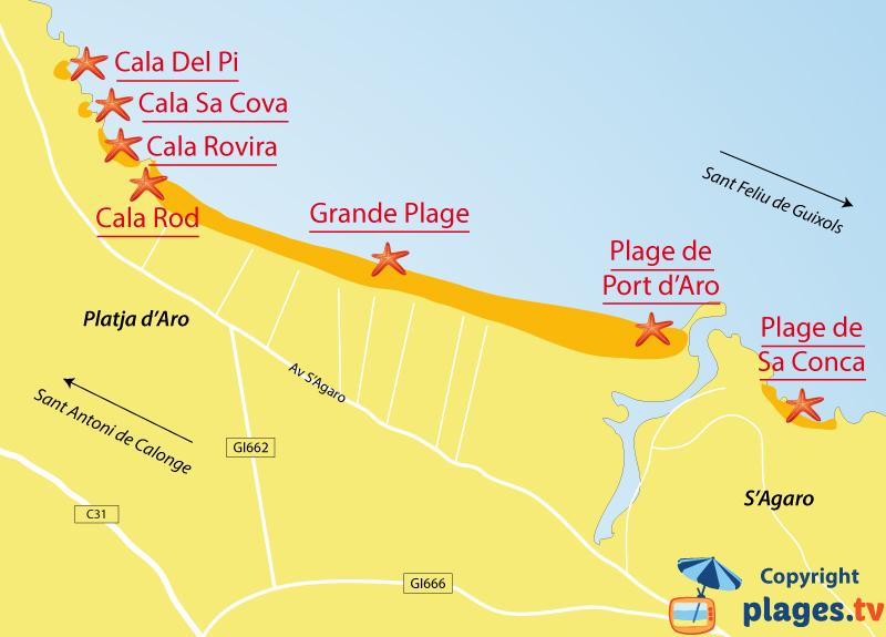 Plan des plages de Platja d'Aro en Catalogne - Espagne