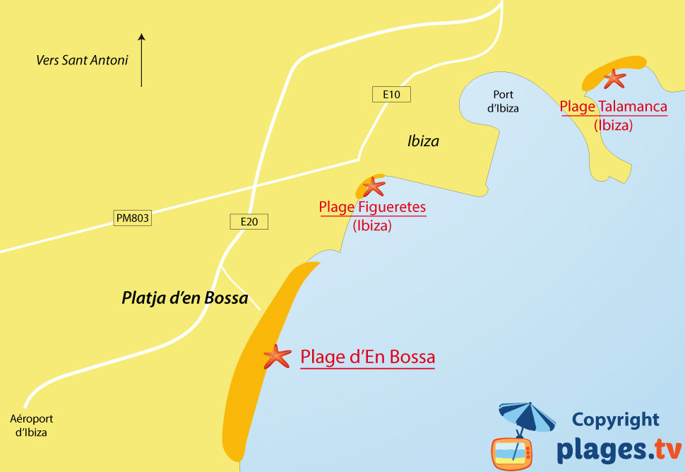 Plan des plages de Platja d'en Bossa à Ibiza