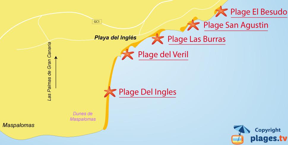 Plan des plages de Playa del Inglés à Grande Canarie - Espagne