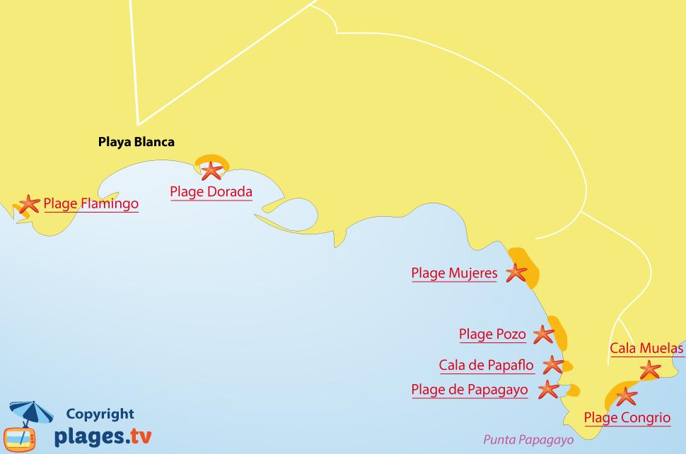 Plan des plages de Playa Blanca à Lanzarote - Iles Canaries