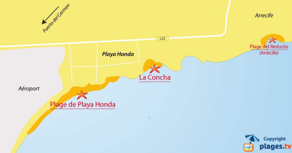 Plan des plages de Playa Honda à Lanzarote
