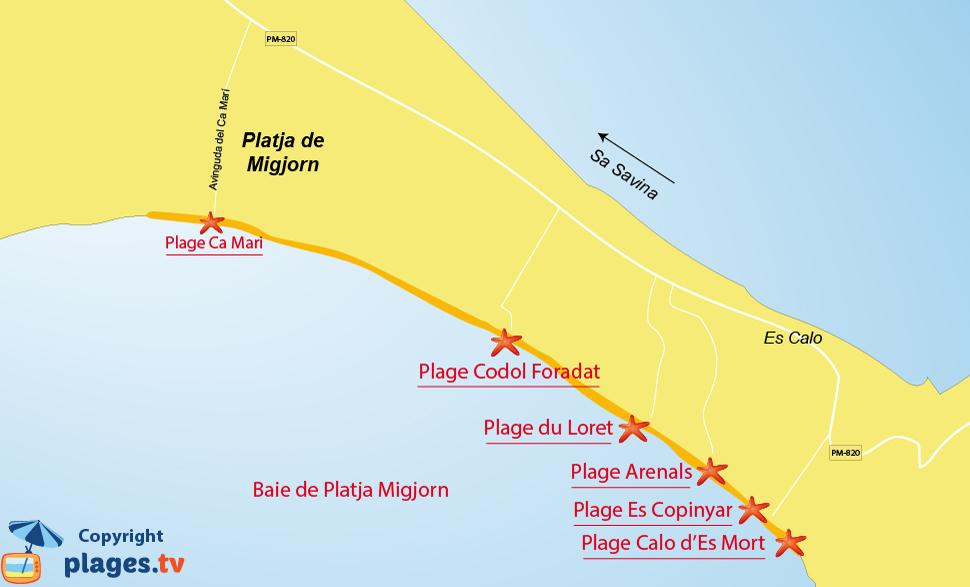 Plan des plages de Platja Migjorn à Formentera