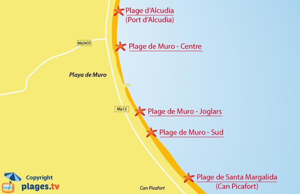 Plan des plages de Muro à Majorque - Baléares