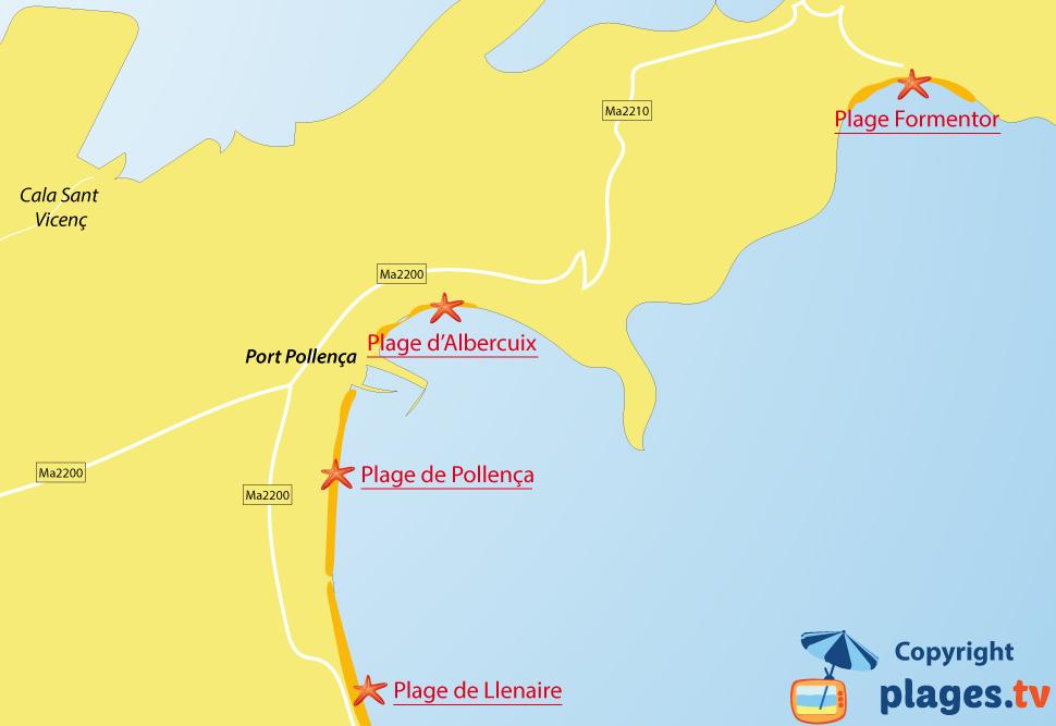 Plan des plages de Port Pollença sur l'ile de Majorque - Iles Baléares