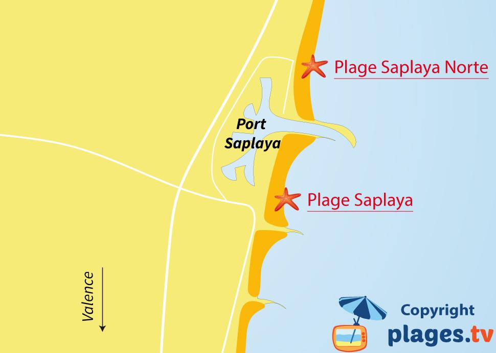 Plan des plages de Port Saplaya en Espagne