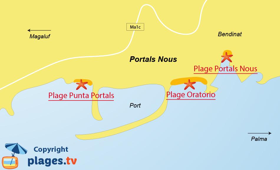 Plan des plages de Portals Nous à Majorque