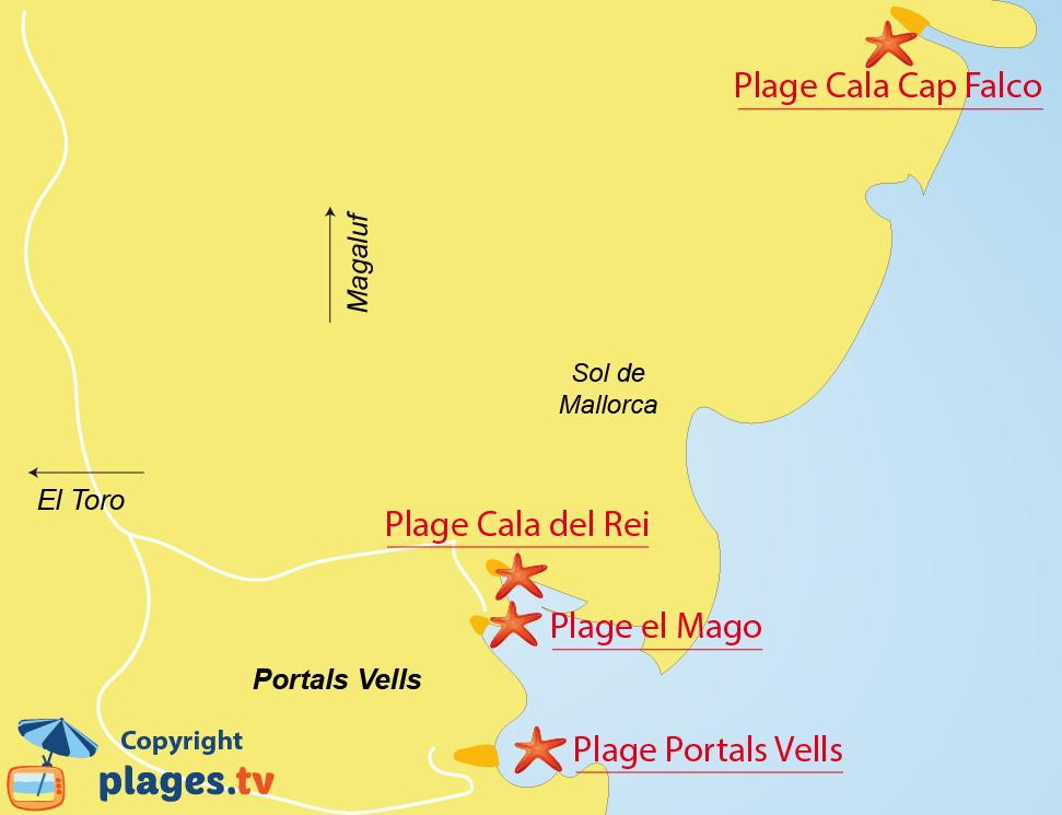 Plan des plages de Portals Vells à Majorque
