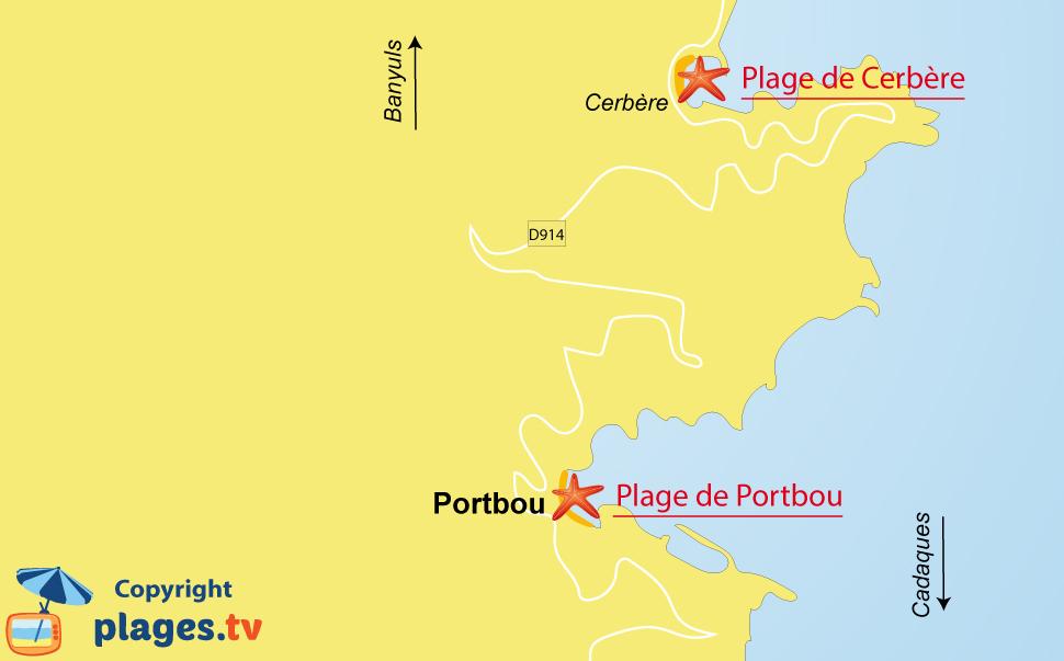 Plan des plages de Portbou en Espagne