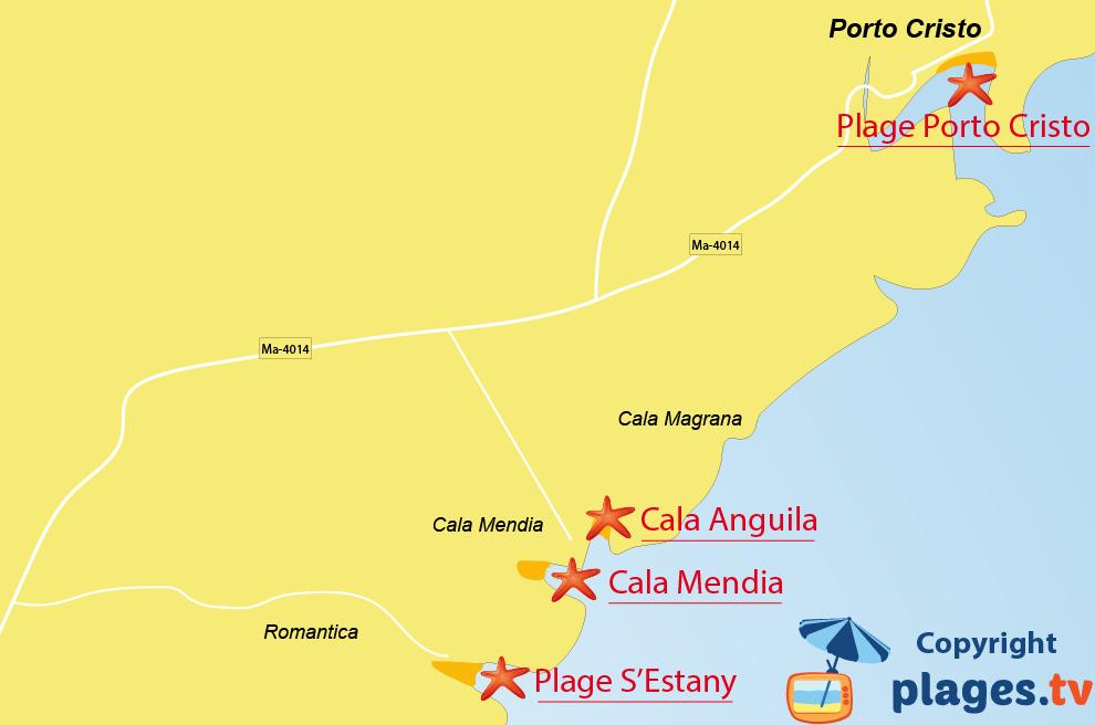 Plan des plages de Porto Cristo à Majorque aux Baléares