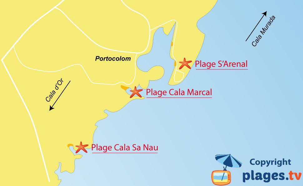 Plan des plages de Portocolom aux Baléares - Majorque