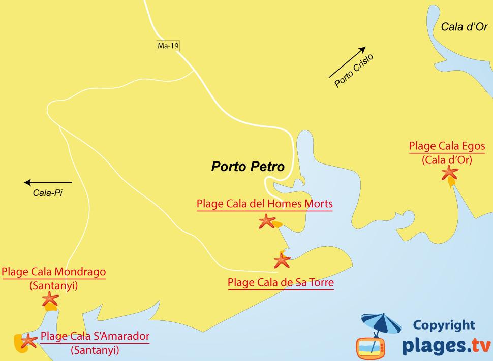 Plan des plages de Porto Petro à Majorque
