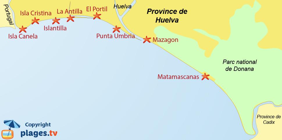 Plan des stations balnéaires et des plages de la Province d'Huelva en Espagne en Andalousie