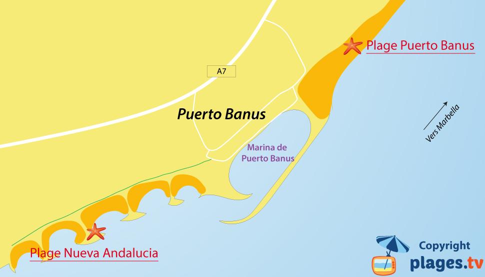 Plan des plages de Puerto Banus en espagne