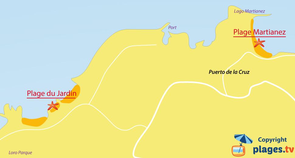 Plan des plages de Puerto de la Cruz à Tenerife - Iles Canaries