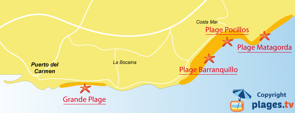 Plan des plages de Puerto del Carmen à Lanzarote - Ile des Canaries