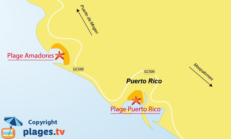 Plan des plages de Puerto Rico à Gran Canaria