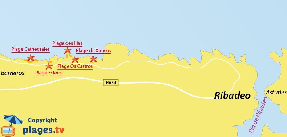 Plan des plages de Ribadeo en Galice - Espagne