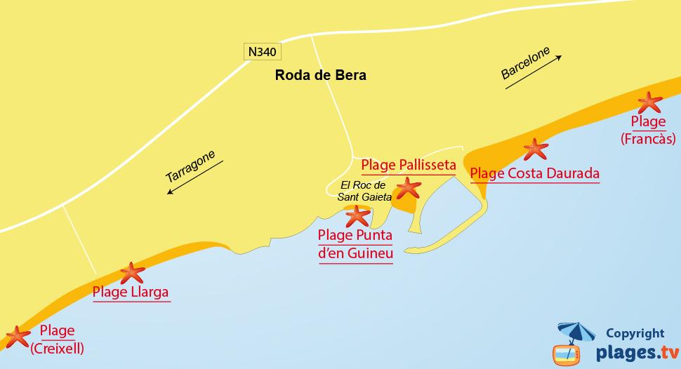 Plan des plages de Roda de Bera en Espagne