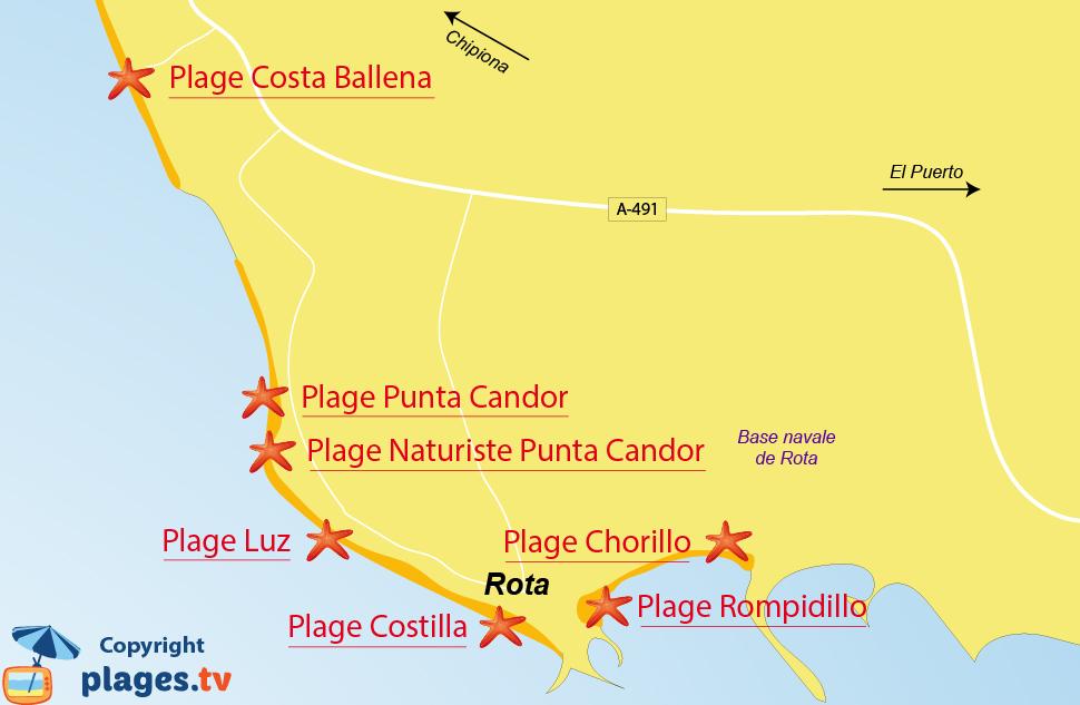 Plan des plages de Rota en Andalousie - Espagne