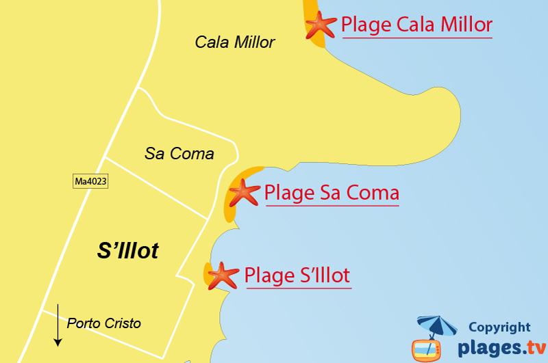 Plan des plages de S'Illot à Majorque - Baléares