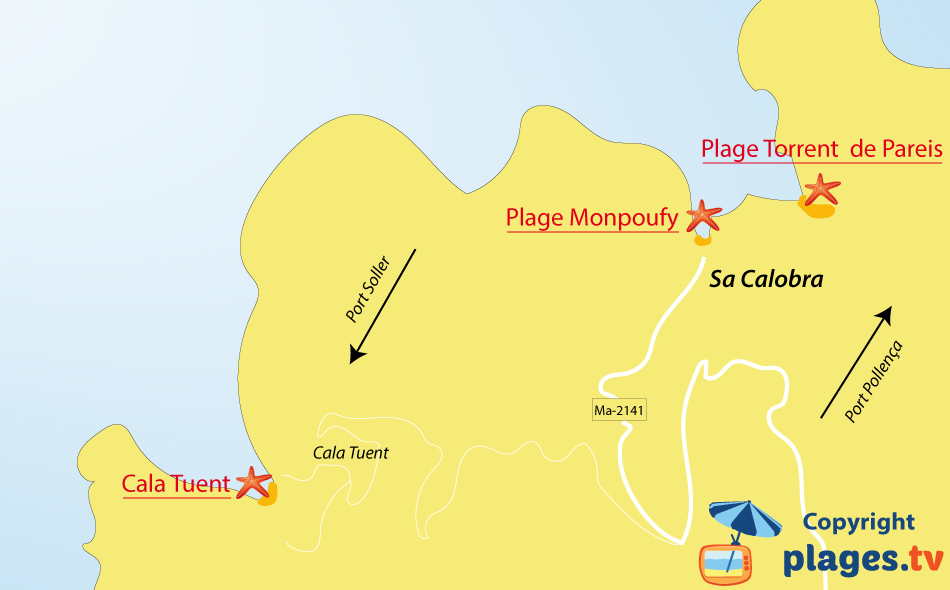 Plan des plages de Sa Calobra sur l'ile de Majorque