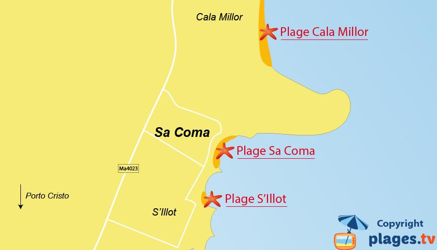 Plan des plages de Sa Coma à Majorque - Baléares