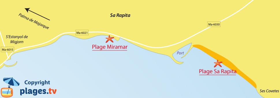 Plan des plages de Sa Rapita à Majorque - Baléares
