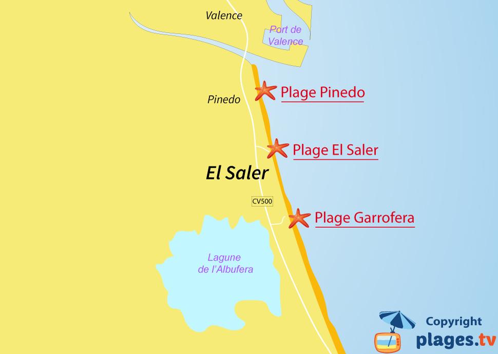 Plan des plages d'El Saler en Espagne à proximité de Valence