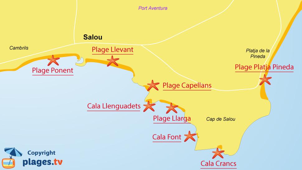 Plan des plages de Salou en Espagne