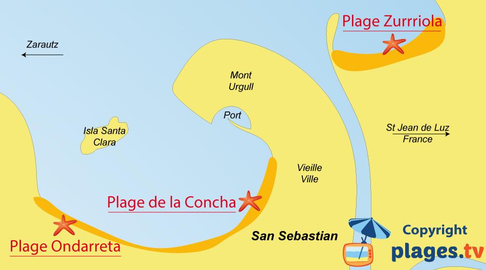 Plan des plages de San Sebastian en Espagne dans le Pays Basque
