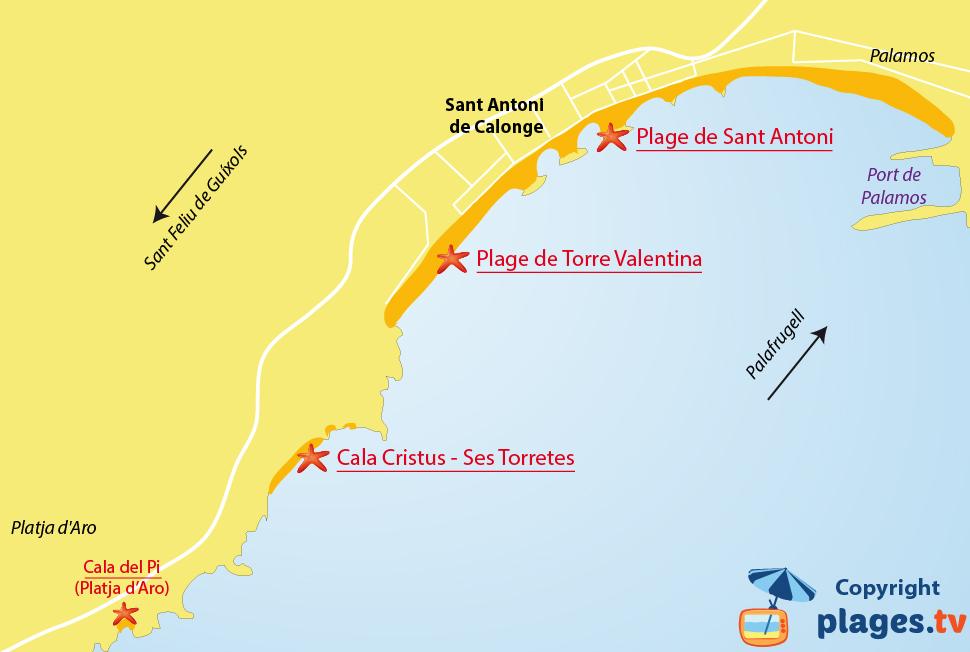 Plan des plages de Sant Antoni de Calonge en Catalogne - Espagne