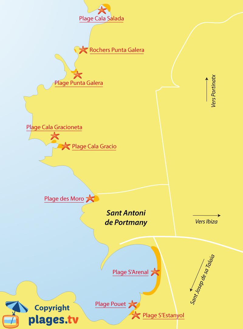 Plan des plages de Sant Antoni de Portmany à Ibiza