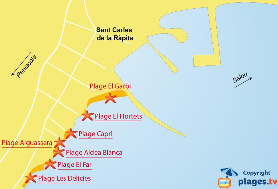 Plan des plages de Sant Carles de la Rapita en Espagne