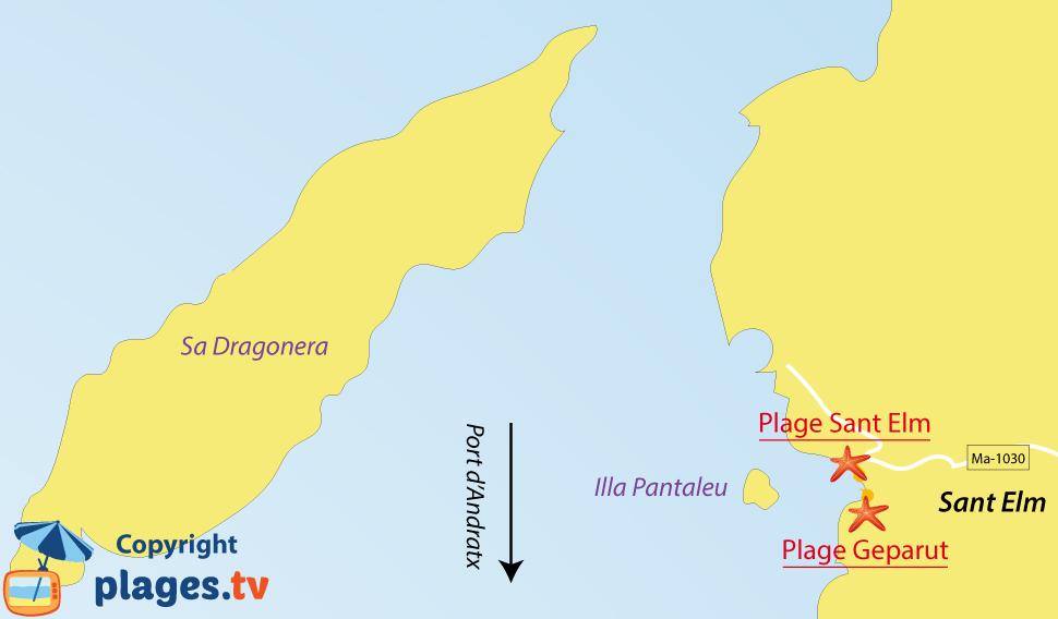 Plan des plages de Sant Elm à Majorque - Iles Baléares