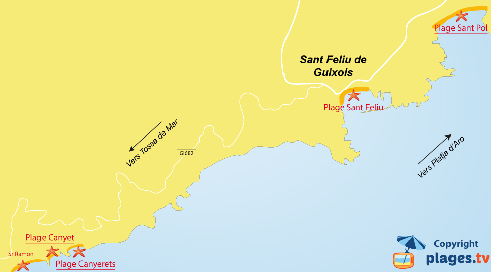 Plan des plages de Sant Feliu de Guixols en Espagne