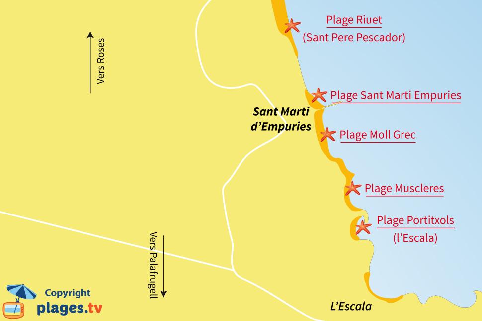 Plan des plages de Sant Marti d'Empuries en Espagne