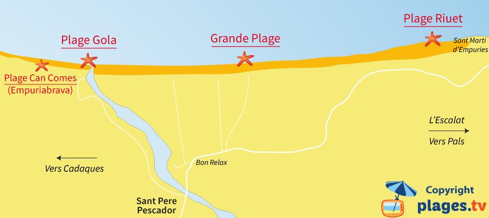 Plan des plages de Sant Pere Pescador en Espagne