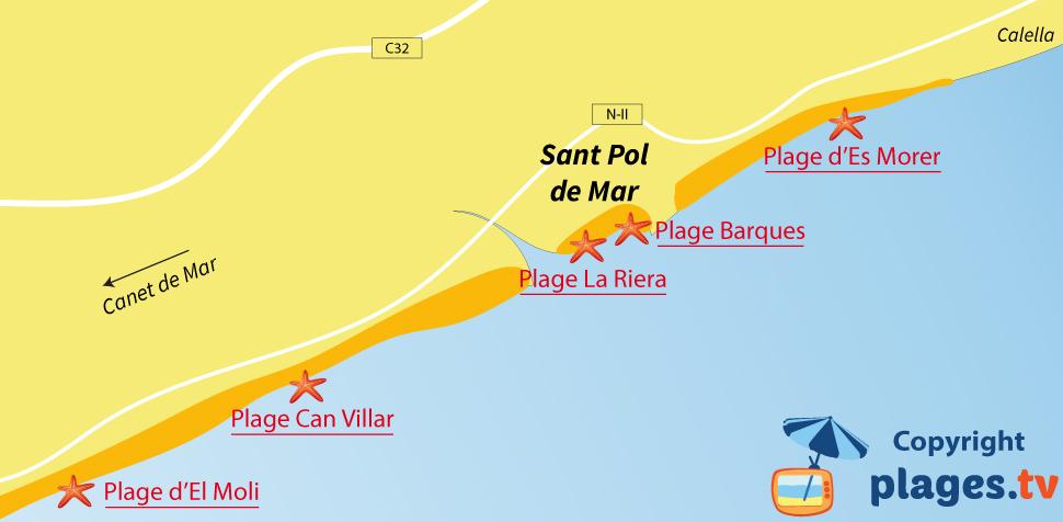 Plan des plages de Sant Pol de Mar en Espagne