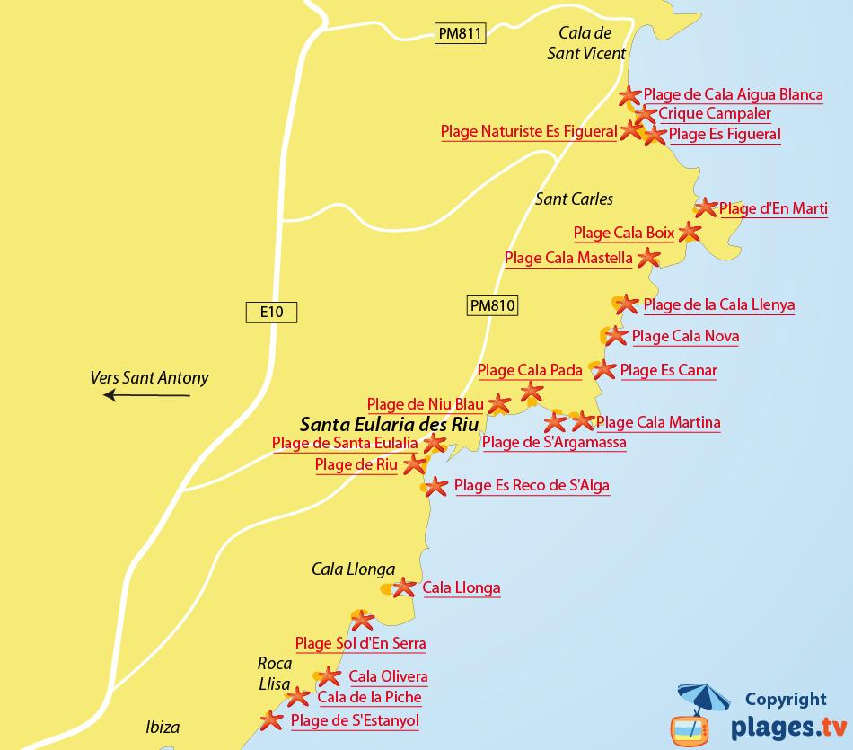 Plan des plages de Santa Eularia des Riu à Ibiza