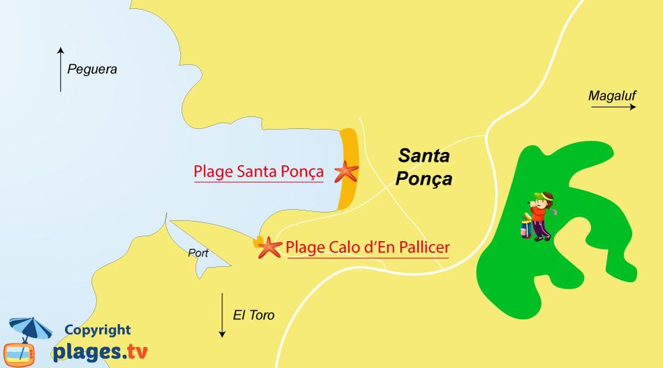 Plan des plages de Santa Ponca à Majorque aux Baléares