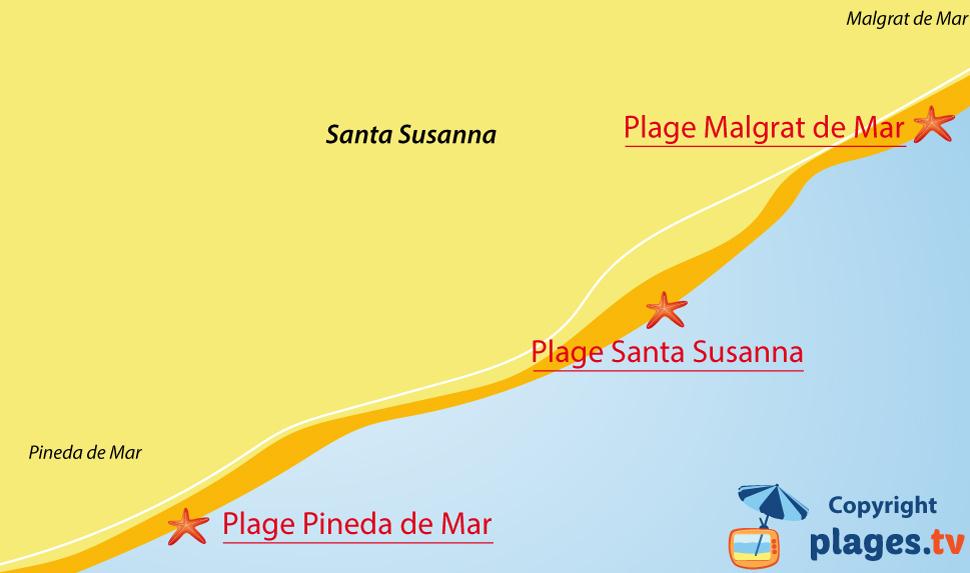 Plan des plages de Santa Susanna en Espagne