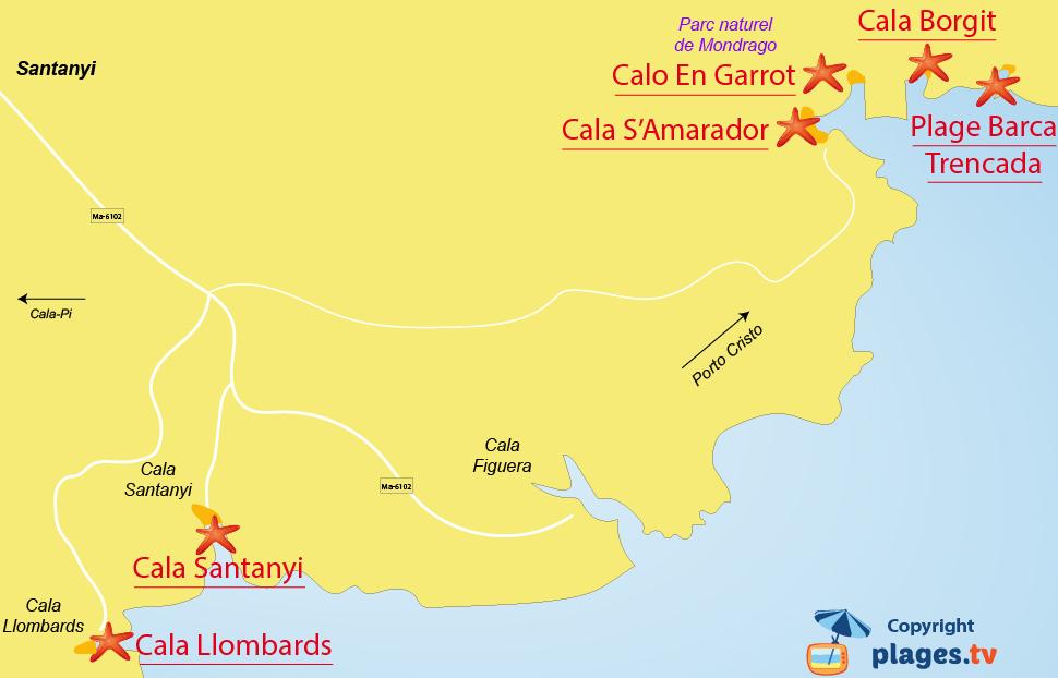 Plan des plages de Santanyi à Majorque